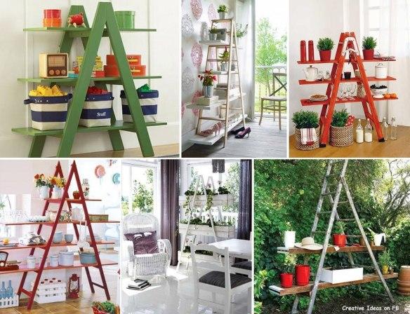 Escadas de todos os tipos, velhas, novas, coloridas...podem virar prateleiras muito úteis e cheias de charme.
